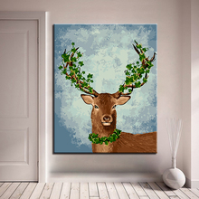 Oil Unique Gift For Home Wall Deer Antler DIY Painting By Numbers Kits Handpainted Artwork Modern Canvas Picture Framework(China)