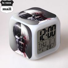 Japanese Anime Tokyo Ghoul LED 7 Color Flash Digital Alarm Clocks Kids Night Light Bedroom Clock reloj despertador desktop clock(China)