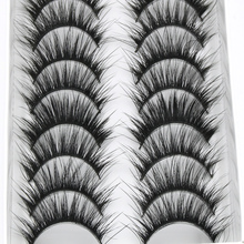 YOKPN False Eyelashes Eyelash 10 Pairs Long Section Natural Thick False Eyelashes Makeup Tool High Quality Fiber Eyelashes(China)