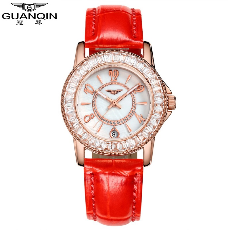 montre femme Brand GUANQIN Women Watch Red Leather Quartz Watches Ladies Diamond Wristwatch relogio feminino 2017 Girls Watches<br>