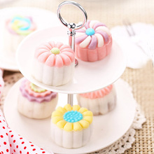 7PCS/Set 3D Moon Cake Mold 1 Hand Press with 6 Flower Shape 50g Mid Autumn Arch Moon Cake Moulds Bread Cookies Maker