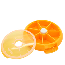 Precioso orange fruit forma slot píldora medicina case medical caja redonda 7 day tablet píldora caja de almacenamiento de plástico de drogas(China)