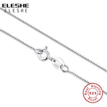 ELESHE Available Real 925 Sterling Silver Slim Box Chain Necklace Womens Mens Children Kids 45m Long Chain Jewelry Gift collares