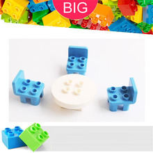 Large Building Block compatible Duplo Parts Furniture 31066 Table Round 12651 Chair Classic Piece Big Dot Brick Toy Bricklink(China)