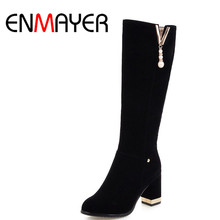 ENMAYER Black Motorcycle Boots Beading Charms Mid-calf Boots for Women High Heels Round Toe Platform Shoes Woman Winter Boots
