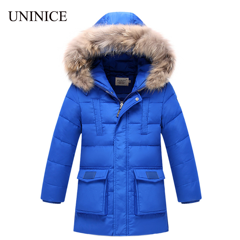 2016 Children Down Jacket Fur Hooded Down Coats For Boys Long Warm Thicken Winter White Duck Down Outerwear For Teenage Clothes(China (Mainland))