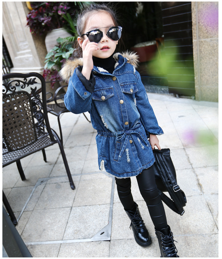 Girls denim jacket Hitz 2016 new childrens clothing cardigan children AutumnAnd Winter Dongkuan long coat Denim sets for girls<br>