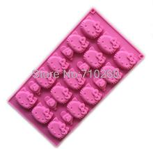 F012 Wholesale/retail free shipping,1 PCS 15 hole hello kitty cat clay Cake Mold Jelly pudding KT Chocolate mold
