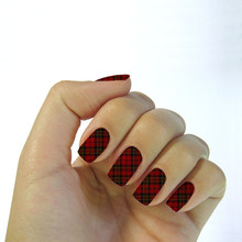Charm Black&Red Stripe Plaid Design Nial Stickers Water Transfer Foils Nail Art Decoration Sticker Decals Manicure Tools K5612