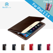 Luxury Automatic Wake-up Sleep Smart Cover PU Leather Case For iPad 2 3 4 SmartCover for iPad4 with Stylus Pen as Gift