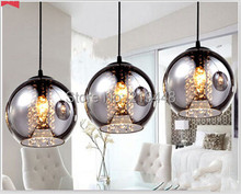 Restaurant Lamp Chandelier  Creative Personalized Crystal Chandelier Bar Table Glass Chandelier LED Light Three Lamps