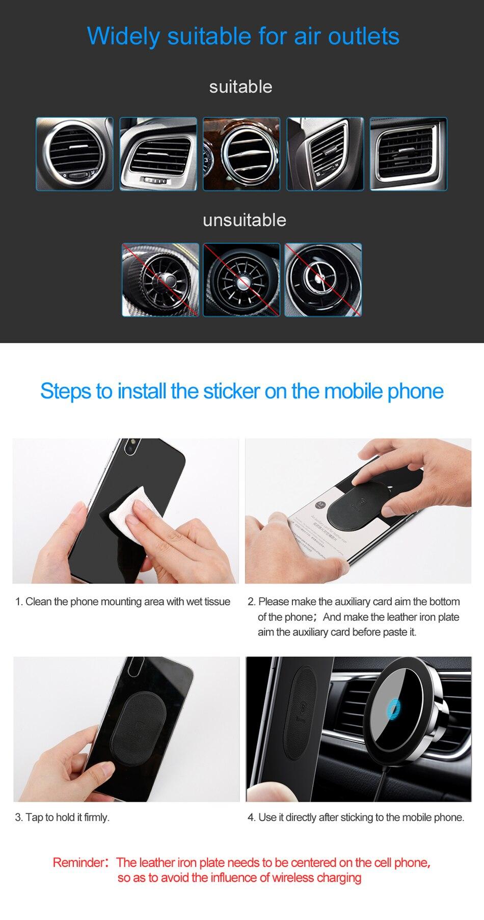 Baseus شاحن سيارة لاسلكي سريع من شركة iPhone X 8 Samsung Note 8 S8 S7 17