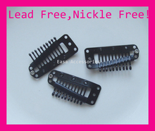 "20PCS Black 38mm 1.5""Black Plain Metal Hair Extension Clips with 10teeth comb for hairpiece clip findings lead free&nickle free"