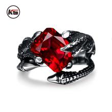 2016 New Design Vintage Punk Dragon Claw Red Crystal Ring Bicycle Gothic Knight 316L Stainless Steel Men's Ring 8-12 Code