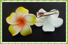 20 Orange Foam Hawaiian Plumeria flower Frangipani Flower bridal hair clip 6cm(China)