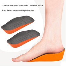 Drop Shipping Men Woman Shoes Insoles PU Invisible Inside Increased High Insoles Shoes Pad Soft Insole Pain Relief Teenager Hot(China)