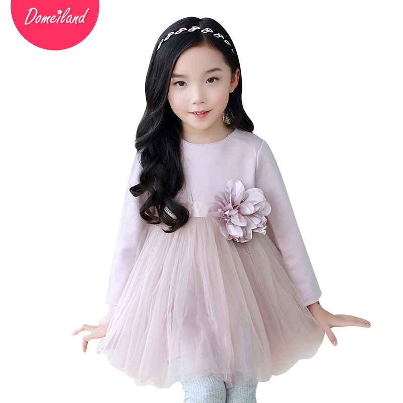 2017 Fashion Brand DOMEI LAND Children Clothes cute cotton ruffles Flowers tutu dress Princess dress Kid Party clothing<br>