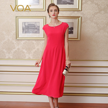 VOA Summer Red Silk Slim Office Dress 2017 Fashion Short Sleeve Casual Brief Pure Color Comfortable Beauty Women Dresses A5268