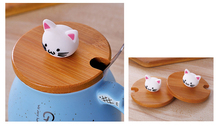 Cat Printed Ceramic Coffee Cup with Spoon