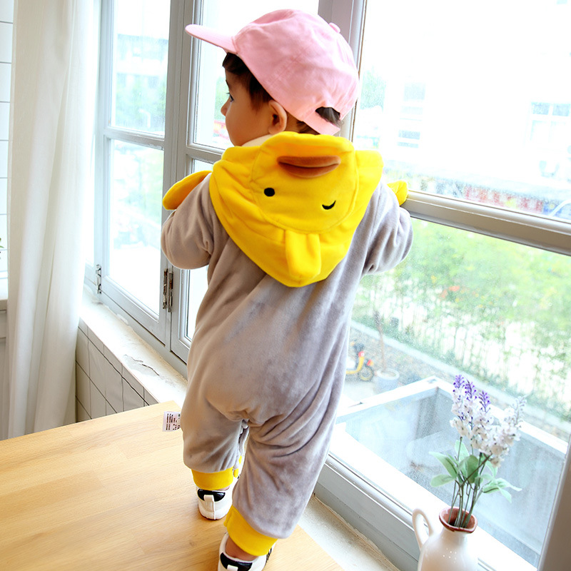 Winter baby romper cartoon yellow duck design thick warm newborn baby clothes cute boutique infant costume <br>