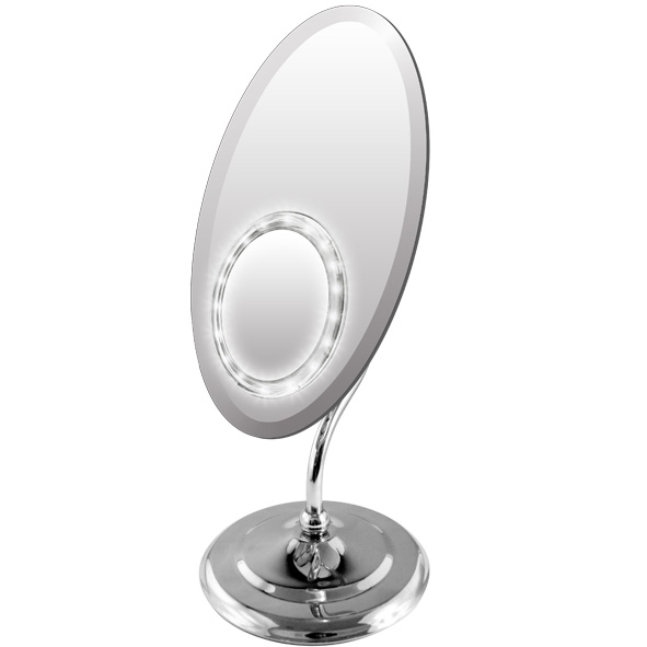 Rucci M961 Ellipse Chrome Mirror with Led Lighted Suction (1)