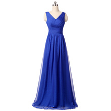 In Stock Real Picture Cheap Royal Blue A-line Long Evening Dresses Chiffon Floor-length Fashion Formal Evening Gowns 2017