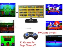 Plug and Play Handheld TV Video Game Console For 16 Bit Games with 12 Built-in Games 80 Game Levels NTSC AV Output