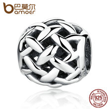 BAMOER Vintage 925 Sterling Silver Weave Charms Fit Bracelets & Bangles Women Wedding Jewelry PAS340(China)