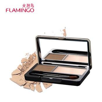Chine Top Beauté Flamingo 2 couleurs Haute Brillant Stéréo Doux Facile à Porter Eye Brow Palette Ombrage Kit Brosse Miroir de Sourcil poudre