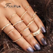 FANHUA 12pcs/set Bohemia Gold-Color Knuckle Ring Set For Women Geometric Bijoux Women Fashion Designer Jewelry Bague Acessorios