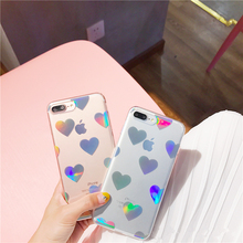 Love heart laser hard phone case For iphone 7 7plus hard plastic case for iphone 6 6s 6plus 8 8plus back cover reflects colors(China)