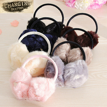 Lovely Girl Rabbit Fur Earmuffs Winter Anti-cracking Keep Warm Earmuffs Rose Fashion Rabbit Hairy Ears Cover Fur Fur Headphones(China)