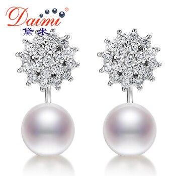 DAIMI 9-10mm Perla Grande Pendientes de 925 Clavos de Plata Pendientes de Perlas de Agua Dulce Blanco pendientes de cristal de Joyería Fina para navidad