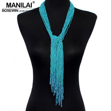 MANILAI 12 Color Boho Style Jewelry Handmade Beaded Long Necklace Women Resin Bead Tassels Pendant Collares Statement Necklaces(China)
