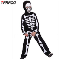 TPRPCO Halloween Carnival Party Costume Game Performance Black Clothing Children's Terror Skeleton Costumes with Cap E46