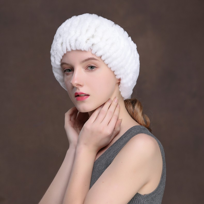 Winter Fur Headbands For Women Knitted Rex Rabbit Fur Scarf Hats Natural Fur Ring hairband Neckwarmer female (15)