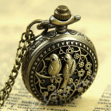 1Pc Small Bird Eagle Peacock Flower Pattern Quartz Hunger Game Pocket Watch Hour #T50P# Drop ship