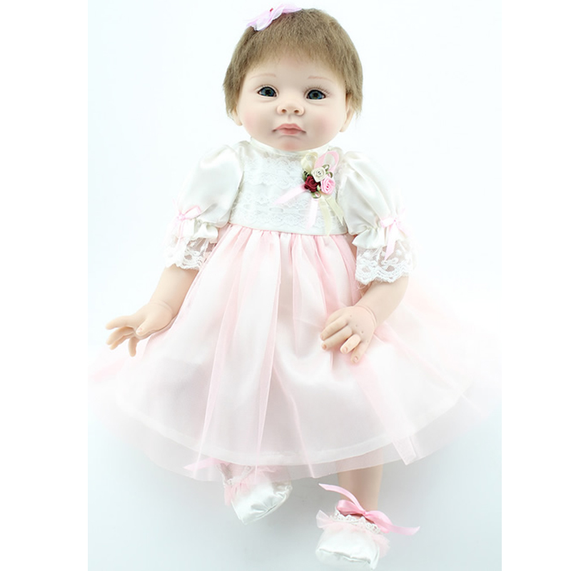 50-55cm Silicone Reborn Baby Dolls 100% Safe Baby Reborn Toy Girl Reborn Baby Doll With Pink Dress Same Quality Gift Kids Doll<br><br>Aliexpress