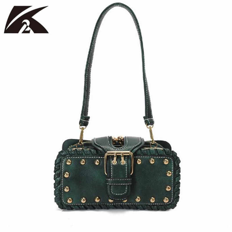 Detail Feedback Questions about Green Women Leather Handbags Rivets Studded  Small Bags Female Messenger Shoulder Bag Clutch Purse Crossbody Bags for  Women ... abb05be90d96