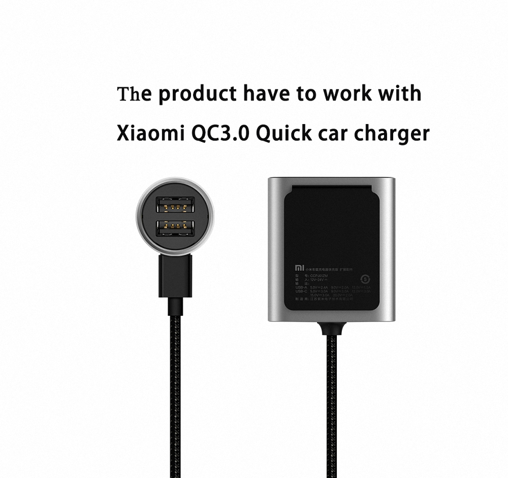 Original Xiaomi Car Charger QC3.0 Version Extended Accessory + Xiaomi QC3.0 Quick car charger For smart phone drop shipping