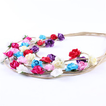 Multi Colors Beautiful Cute Rose Flower Headbands with Leather Rope Hairband for Kids DIY Crafts Hair Accessories