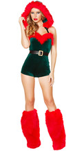 Lady Green Christmas Costume Adults Sexy Christmas Xmas New Years Velvet Uniform Santa Claus 2016 hot Costumes Mini Dress