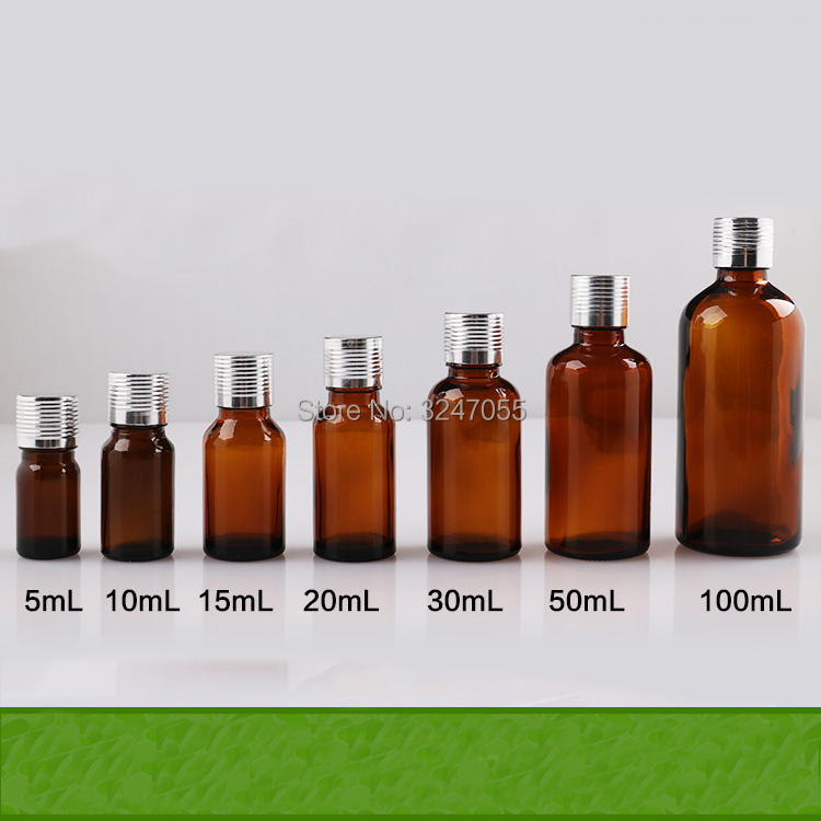 Brown Empty Glass Essential Oil Packing Bottle, DIY Amber Vial Reducer Storage Container, 5/10/15/20/30/50/100ml Glass Bottles<br>