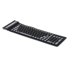 2.4 Portable Mini Flexible Roll Up Water Resistant Washable Soft Silicone Wireless Keyboard with USB Receiver for PC Laptop(China)