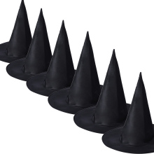 New Designer 6Pcs Adult Womens Black Witch Hat For Halloween Costume Accessory Cap Oxford fabric Material vicky(China)