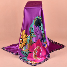 High Quality Imitated Silk Satin Scarves 90*90CM Square Printed Satin Large Female Shawl 4 Colors Beautiful Women Scarf