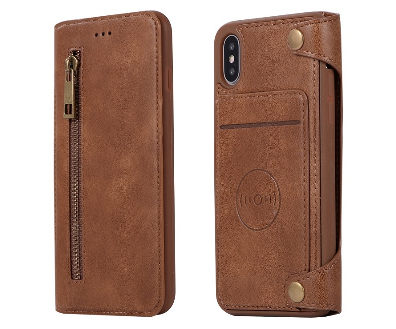 genuine leather flip phone case for iPhone x luxury card cover