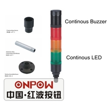ONPOW 40mm Warning Light Red Yellow Green Continous LED with buzzer Tower Signal Light (HBJD-40DZ/3/RYG/24V/B)(China)