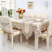 "vezon Europe Luxury 72*126"" Polyester Floral Embroidery Tablecloth Satin Embroidered Wedding Table Towel Cloth Cover Overlay"