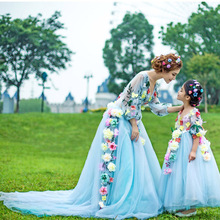 Mother & Daughter Dresses Children Princess Flower Girl Formal Dress Wedding Party Photographic Clothes